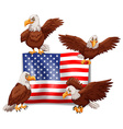 American flag and four eagles vector image vector image