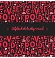 background with Latin letters of different sizes vector image