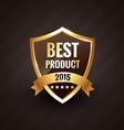 best product of 2015 golden label design badge vector image