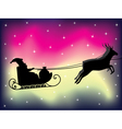 Santa sleigh over polar lights vector image