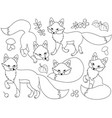set of cute cartoon foxes vector image