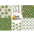 summer nature seamless patterns vector image