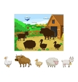 Match the animals to their shadows child game vector image