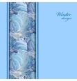 Blue vertical border winter frozen glass vector image