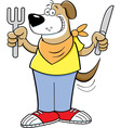 Cartoon hungry dog holding a knife vector image