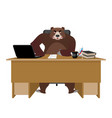bear sitting in an office russian boss at table vector image