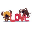 Cute design with two dogs vector image