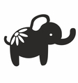 cute elephant papercutting style silhouette vector image