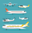 Plane Light Jet Objects Flat Design Set vector image