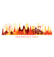 southeast asia landmarks skyline shape vector image