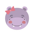 colorful caricature cute face of female hippo vector image