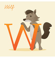 Animal alphabet with wolf vector image vector image