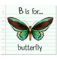 Flashcard letter B is for butterfly vector image