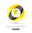 letter f logo symbol in the colorful circle vector image
