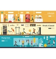 Lifestyle Break A Sweat Pump Iron flat interior vector image