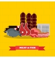 Meat and fish food products in vector image