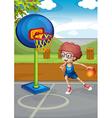 A boy playing basketball vector image
