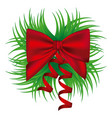ornament decorative pine arch with silk shiny red vector image