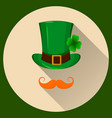 patrick hat green hat with four leaf clover and vector image