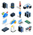datacenter elements icon set vector image