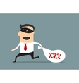 Businessman stealing tax money vector image vector image