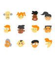 color cartoon people face icons set vector image
