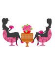 girls in coffee break - silhouette vector image