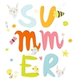 Greeting card with Summer typographic vector image