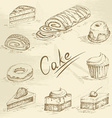 Hand drawn cake sketch vector image