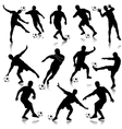 Soccer man silhouette set eps10 vector image