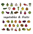 vegetables and fruits colourful icons vector image