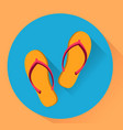 beach slippers flat yellow and blue colores vector image