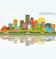 edmonton skyline with color buildings blue sky vector image