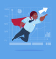 african american businessman super hero fly up vector image