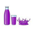 glass bottle of purple fruit juice splash vector image