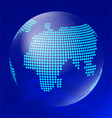 Blue transparent globe with waves vector image vector image