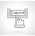 Media player with finger flat line icon vector image