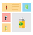 flat icon soda set of fizzy drink drink cup and vector image
