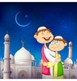 People hugging and wishing Eid Mubarak vector image