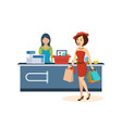 girl makes a large purchase at the store vector image