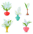 cute collection vases with bouquets of small vector image