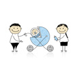 Parents walking with newborn baby in buggy vector image vector image