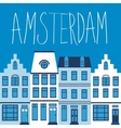 Cute Amsterdam houses colorful set vector image