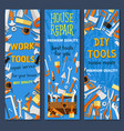repair and construction tool cartoon banner set vector image