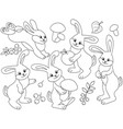 set of cute cartoon rabbits vector image