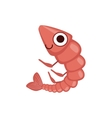 Shrimp Simple Cartoon Character vector image
