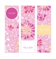 pink abstract triangles vertical banners set vector image
