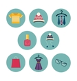 Series of eight flat icons the clothes and vector image