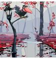 cartoon crow sitting on a lantern in the autumn vector image