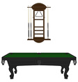 Pool table and rack vector image